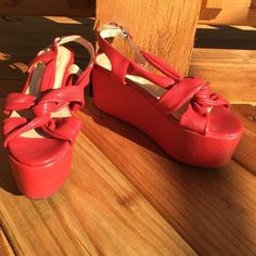 Super Rad Platform Sandals❤️ ❤️Brand new cherry red platform sandals ❤️ Very edgy and JC inspired. Truly unique  Namaste Ego and Greed Shoes Sandals