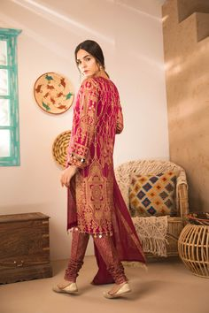 4307dace05c Traditional and beautiful red best Pakistani dress by Sapphire online