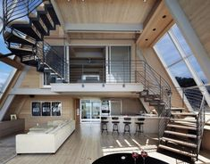 Interior from A-frame luxury beach home, Fire Island New York by Bromley Caldari Architects York