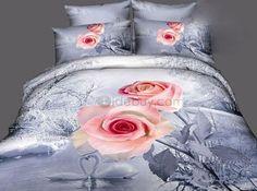 Pink 3D Rose Flower Print Bedding Sets Duvet Cover/Comforter Set : Tidebuy.com