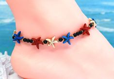 Stars anklet, patriotic anklet, starfish jewelry, trending now by CustomAnkletsByLori on Etsy Boot Bracelet, Ankle Bracelets, Perfect Gift For Her, Gifts For Her, Silver Boots, Boot Jewelry, Boot Bling, Thing 1, Southwest Jewelry
