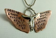 Wearing words to remember on my wings...