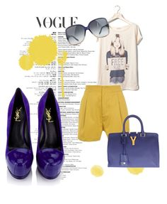 """""""Yellow"""" by lucijaro ❤ liked on Polyvore featuring Pull&Bear, Surface To Air, Gucci and Yves Saint Laurent"""