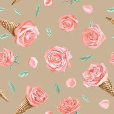 roses and icecream 2 fabric by volga_ilyina on Spoonflower - custom fabric