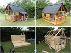 Amazing Maison De Jardin Pour Enfant / Pallets Kids House Garden kids house made for our daughter. Cheaper, more beautiful than prefabricated huts and especially made to our taste :) Maison de jardin réal. Pallet Playhouse, Pallet Shed, Build A Playhouse, Pallet House, Pallets Garden, Pallet Benches, Backyard Playhouse, Pallet Tables, Pallet Bar