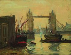 """""""Tower Bridge, London,"""" Richard Hayley Lever, oil on canvas, 14 x 18"""", private collection."""