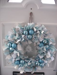 12in Handmade Christmas Door Wall hanging Rag Wreath | eBay
