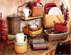 Collection of Longaberger baskets perfect for the holidays.