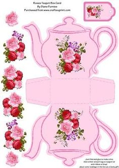 Roses Teapot Box Card on Craftsuprint designed by Diane Furniss - A Lovely Teapot Box Card.This Box is so easy to assemble, Just print onto good quality photo card and cut out. You will notice that the lines around the teapot seem jagged but this is Wonderland Party, Alice In Wonderland, Paper Art, Paper Crafts, Printable Box, Printables, Card Templates, Paper Dolls, Cardmaking