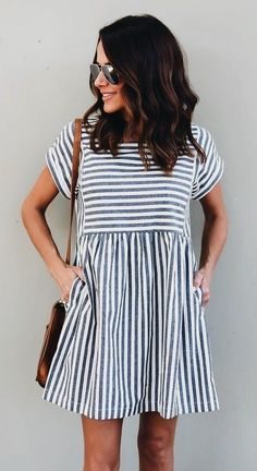 #outfits women's gray and white stripe short-sleeve mini dress