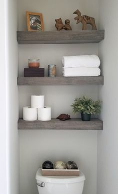 Bathroom Decor themes 33 Favorite Diy Bathroom Shelf Design Ideas You Must Try - A lot of people seem to trying to alter their houses appearance recently because it may add value to a home. Ive seen people try to add a new set of . Small Downstairs Toilet, Small Toilet Room, Small Bathroom, Small Toilet Decor, Bathroom Ideas, Teen Bathrooms, Gray Bathroom Decor, Downstairs Bathroom, Master Bathroom