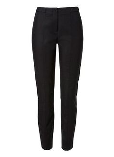 SEED Cotton/Elastane Slimline Pencil Pant. Comfortable yet neat fitting silhouette features a high waist, rib waistband, centre front panels and slim fitted leg. Available in Black as seen below. style: 8806004 AU$99.95