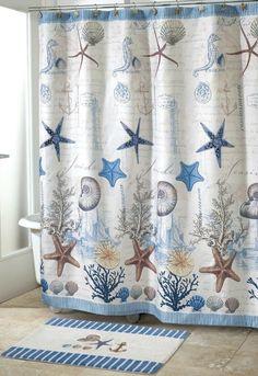 Coastal Decor Shower Curtain and rug