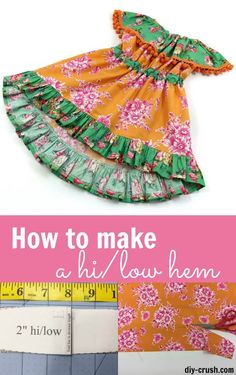 How to make a high low hem. Free tutorial with template.