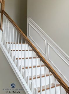 Learn all about the best neutral paint colours, including Benjamin Moore Grant Beige, Manchester Tan, Navajo White and more. Shown here in staircase with wood railing, steps and white spindles and risers. Grant Beige Benjamin Moore, Benjamin Moore Paint, Benjamin Moore Colors, Beige Paint Colors, Interior Paint Colors, Paint Colors For Home, Dining Room Paint Colors, Wood Railing, Railings