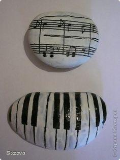 music - painted rocks  Music teacher paper weight gift idea!