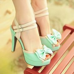 Mint Blue Cute Bow Heel Sandals $45.00.  These are so cute and I would have worn them in my 20's for sure. Wish I could now!