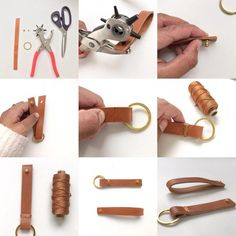 Leather key ring DIY the instructions are on www. Leather Keyring, Leather Jewelry, Leather Craft, Diy Jewelry Rings, Diy Rings, Unique Diamond Engagement Rings, Shop Engagement Rings, Diy Leather Projects, Diy Jewelry Inspiration