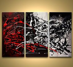 Large Modern Contemporary Abstract Painting Black by OsnatFineArt, $599.00
