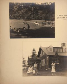 Mount Holyoke View Book, scenes of a horse show on Pageant Field and students playing golf at the Orchards Golf Club :: Archives & Special Collections Digital Images :: circa 1933-1936