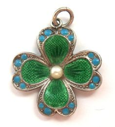 Antique German 800 Silver and Enamel Four Leaf Clover Lucky Charm.