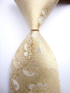 New Men's Beige White Floral JACQUARD WOVEN 100% Silk Suits Tie Necktie R54 in Clothing, Shoes & Accessories | eBay