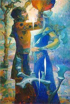 Painting is silent poetry, and poetry is painting that speaks. Rasputin, Contemporary Art, Illustration, Painting, The Moon, Illustrations, Painting Art, Paintings, Modern Art