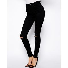 ASOS Ridley Skinny Jeans in Clean Black with Ripped Knees ($27) ❤ liked on Polyvore featuring jeans, pants, bottoms, black, petite, destroyed jeans, distressed jeans, skinny jeans, ripped jeans and black jeans