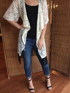 LuLaRoe Monroe - Ivory Lace with Black Fringe - Lace kimono, basic tee or tank, jeans, heels