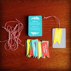 MOO cards as hangtags (via Happymeat on FLickr)