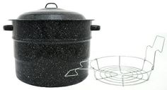 Granite Ware 0707-1 21-1/2-Quart Steel/Porcelain Water-Bath Canner with Rack by Columbian Home Products. $18.97. 7-jar porcelain-finished steel canning pot with removable wire rack. Measures approximately 10 by 14 by 16 inches. Handled lid for faster heat-up times and heat retention. 2 Loop side handles for convenient transport. Dishwasher-safe; Can be used on gas or electric stove tops. Not recommended for glass stove tops. Six generations of Americans have been using Granite...