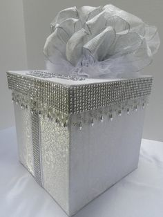 Silver and White Wedding Card Box Bling Mesh Wrap by SweetJonesin Wedding Gift Card Box, Gift Card Boxes, Wedding Boxes, Wedding Cards, Wedding Table, Wedding Reception, Wedding Gifts, Wedding Ideas, Vintage Wedding Invitations