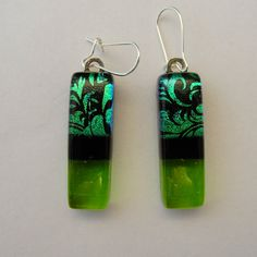 Dichroic Fused Glass Earrings - Dichroic Jewelry Dangles Green - FREE shipping in the US. $26.00, via Etsy.