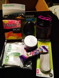 The #govoxbox includes profoit triad orthotic insoles, profoot pedi-rock, playtex sport fresh balance, blue diamond fruit flavored almonds, müller Greek corner yogurts, aqua spa relax collection and next step for n full shake with the mixer bottle. #PlayOn #GoVoxBox #influenster