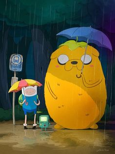 Adventure time with Finn and Totoro :3