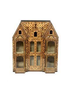 A 19th century miniature mahogany and parquetry house. Rick Maccione-Dollhouse Builder   www.dollhousemansions.com