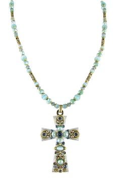 Cat's Eye and Freshwater Pearl Cross Necklace