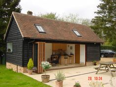 Studio annexe, Penn Street Wood Cladding Exterior, House Cladding, Backyard Studio, Garden Studio, Barn Conversion Exterior, Oak Framed Buildings, Metal Buildings, Garden Log Cabins, Garage To Living Space