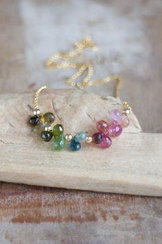 Watermelon Tourmaline Necklace, Multi Tourmaline Cluster Necklace, October Birthstone, Pink Green Blue Tourmaline Jewelry, Bright Tourmaline