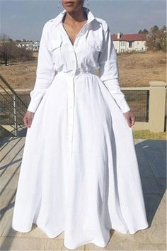 e67b60cb Crisp and clean; we love this white button through shirt style maxi dress  with its
