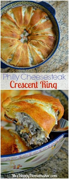 Philly Cheesesteak Crescent Ring – all the flavors of your favorite philly cheesesteak wrapped up in a super easy crescent roll ring – YUM! | MrsHappyHomemaker.com