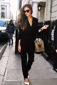 Black Jumpsuit, Leopard bag and cape. Nicole Scherzinger looks incredible!