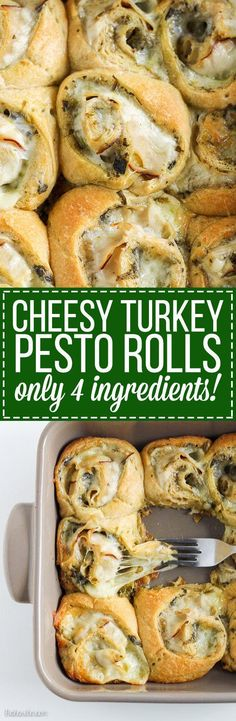 These Cheesy Turkey Pesto Rolls make a great snack or appetizer perfect for tailgating or the holidays! Gooey mozzarella makes this easy four ingredient recipe absolutely irresistible.: