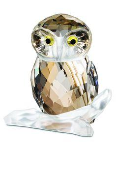 Swarovski Crystal Owl in Brown.