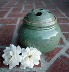 Stoneware Celadon Flower Frog Vase by muddyfingers