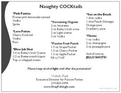 Sex Toy Party recipes for drinks great for your Pure Romance by Melody! http://www.melodythefunlady.com