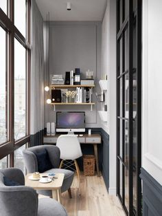 Designing a home office doesn't have to be rigid. Various creative and innovative ideas can be poured into a comfortable, efficient and flexible home office. Many bright ideas from a comforta… Home Office Lighting, Home Office Space, Home Office Design, Home Office Decor, House Design, Office Designs, Small Office, Office Ideas, Family Office