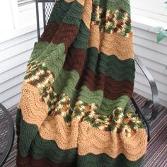 Beautiful crochet afghan using the ripple stitch.