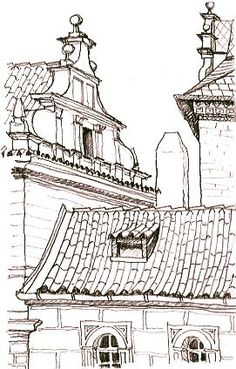 #UrbanSketch, #Prague. Classical European rooftops and gables. Pen and pencil sketch of By Lynne Chapman
