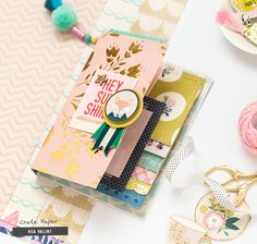 Hi Ladies! Have you ever been to a craft club at your friends or host a crop yourself? One of my favorite things in the world is to get together with my girlfriends and work on scrapbooks. Scrapbook Cover, Mini Scrapbook Albums, Scrapbook Pages, Scrapbook Journal, Scrapbook Layouts, Crate Paper, Mini Album Tutorial, Craft Club, Mini Books